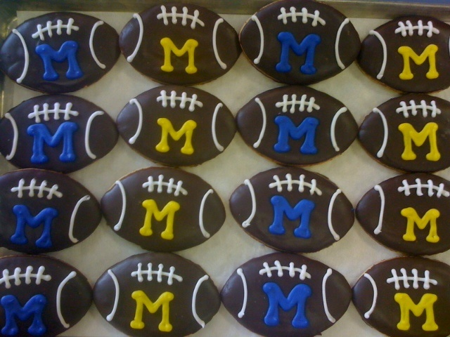 University of Michigan football cookies from Benny's Bakery, Saline, MI.  Yes, we ship cookies!