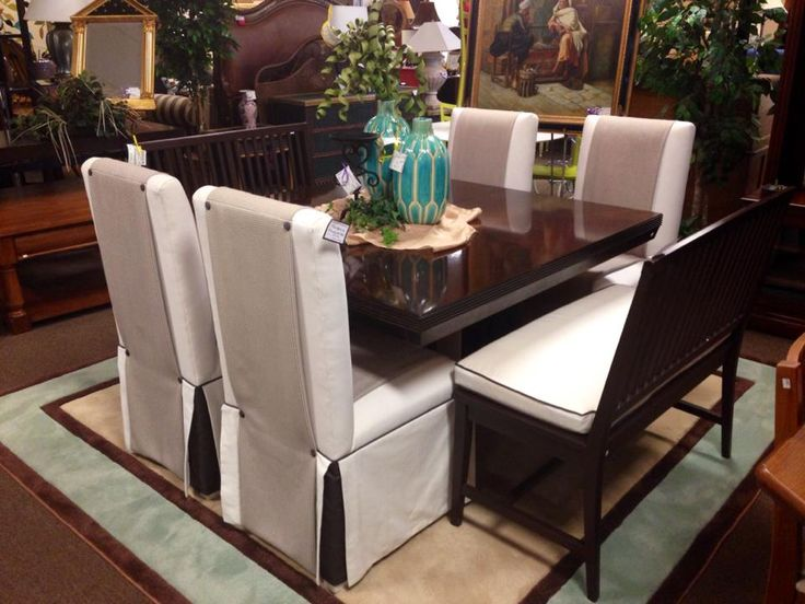 Beautiful Contemporary Lexington Dining Set With Two Benches 4 Upholstered Parson Chairs And One