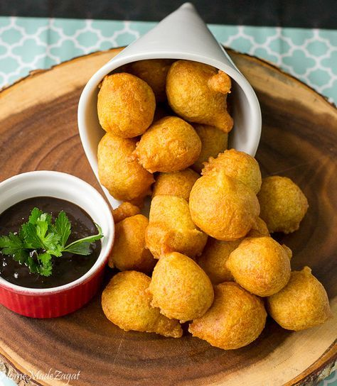An easy recipe on how to make pholourie, a fried, spiced, flour mixture popularly eaten as a snack in Trinidad and Tobago, Guyana and Suriname.