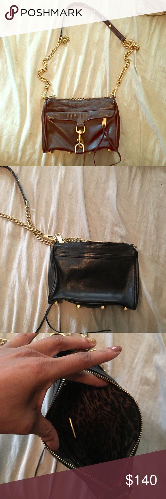 Rebecca Minkoff mini mac bag Rebecca minkoff handbag. Black with matte gold chain. Totally forgot I had this. Good condition, inside is clean! Rebecca Minkoff Bags Crossbody Bags
