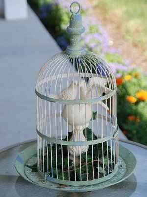 Love Birds In A Bird Cage I Made This Little Display For My Patio. The  Metal Bird Cage Has A Crackled Finish In Blue And Green.