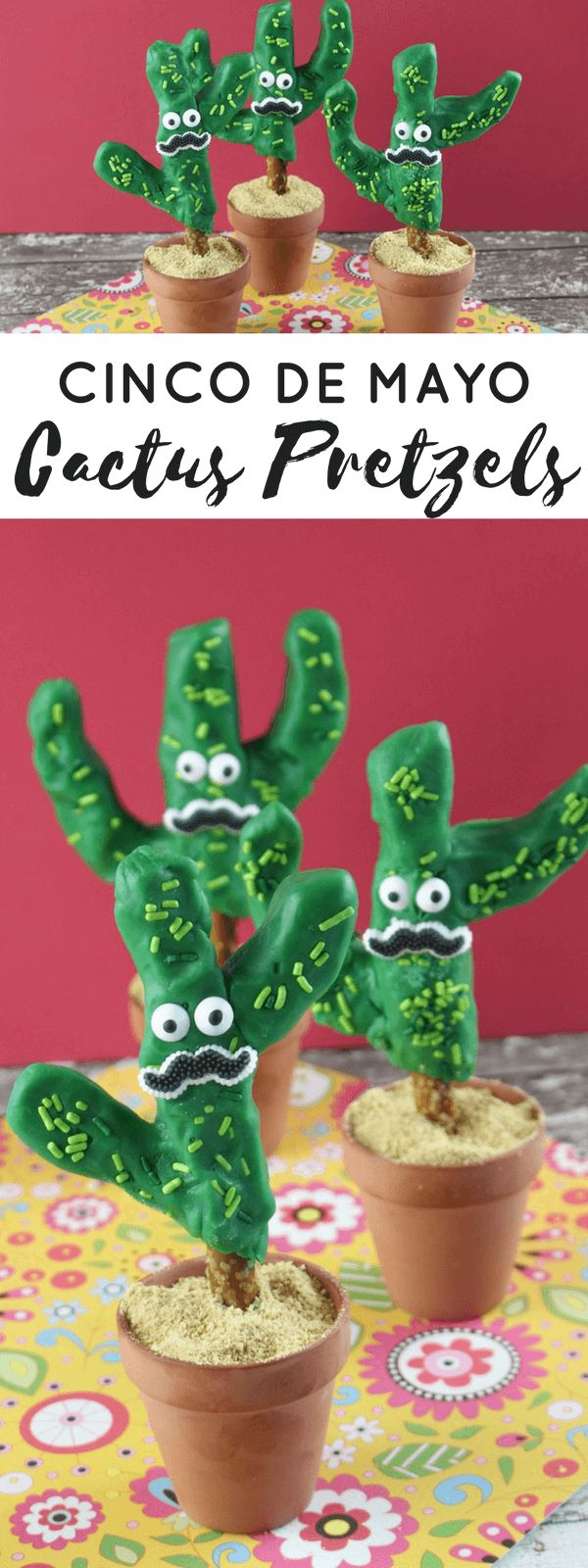 Not only are these cactus pretzels a tasty treat, but they will also add a beautiful touch to your Cinco de Mayo table. Of course, these aren't just for Cinco de Mayo. Cacti are super trendy this year. These would be awesome for any get together with the girls. You could make these and decorate your table with them for a girls' night in. You could also decorate any summer get together with these. Just leave off the mustaches and eyes.