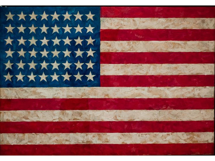 Flag (1954–55), Jasper Johns MOMA Created with encaustic (pigment mixed into melted wax), Flag, with its drips and smears seemingly frozen into place, is indubitably painted, and one can easily see a collage of newspaper strips running beneath the colors. Still, it serves as a banner for an artist who fired some of the first shots against Abstract Expressionism, the dominant style at the time, helping to usher in a new era of American art defined by Pop Art and Minimalism.—Howard Halle
