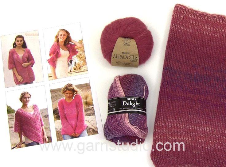 DROPS Technique Tutorial: Alternative yarn: Verdi = Delight and Brushed Alpaca Silk – Pink