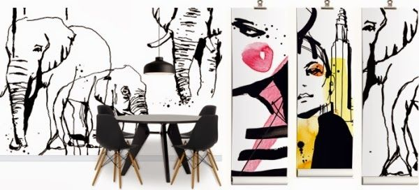 cool wall features with graphic wall paper