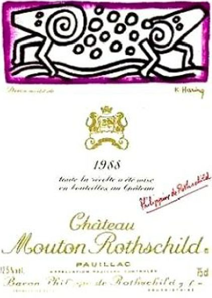 1988 Chateau Mouton-Rothschild label by Keith Haring. #Wine