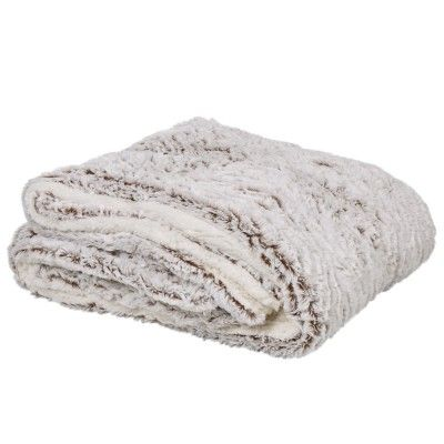 Plaid blanc/marron, dessus effet fausse fourrure et dessous sherpa, dim. 130x160 cm, polyester.