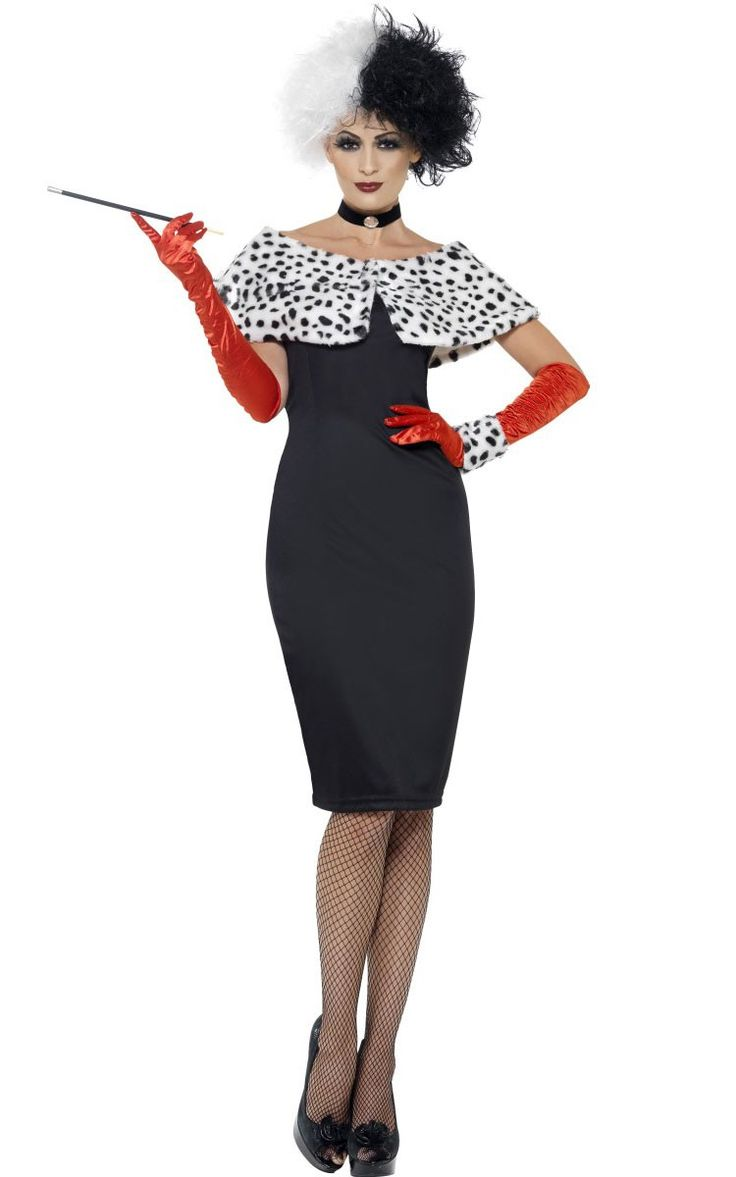 """<p>Get into this cool Evil Madame AKA Cruella De Vil costume for women and have a blast at this years <a title=""""Adult Halloween Costumes"""" href=""""http://www.heavencostumes.com.au/halloween.html"""" target=""""_self"""">Halloween costume</a> party. It's not officially licensed but it sure is a great 101 Dalmatians evil queen costume none the less! See below for full description and size details.</p>"""