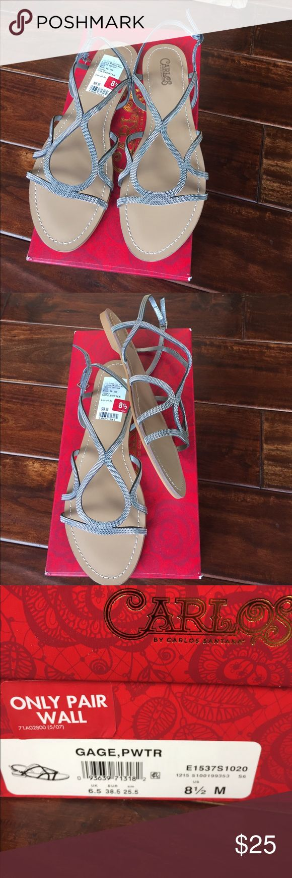 New Carlos pewter sandals size 8.5 New Carlos Santana sandals pewter - super cute, flats, size  8.5 Carlos Santana Shoes Sandals