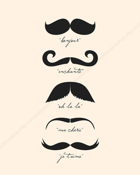 Monsieur Moustache French 8x10 inch Print on A4 in by theloveshop