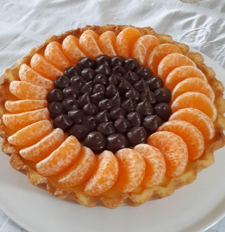 Tangerine and chocolate tart