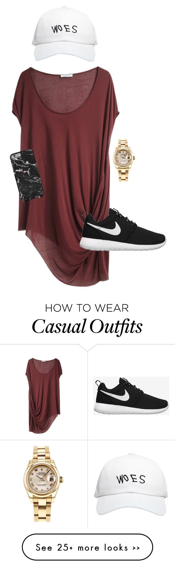 """""""Casual"""" by jimenaxcx on Polyvore featuring Rolex, October's Very Own, Helmut Lang and NIKE"""