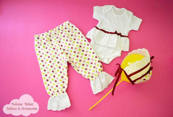 Baby Girl Set Polka Dot Cotton Pants Baby by DoloresBabies on Etsy