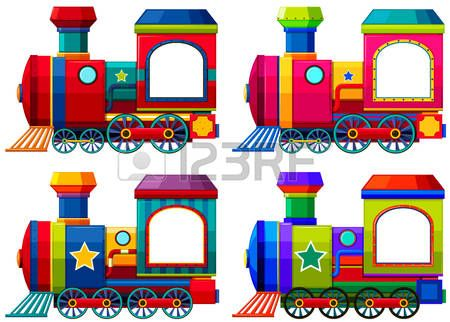 trains: Trains in different colors illustration