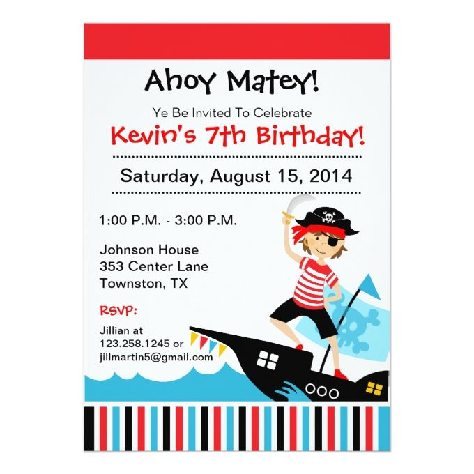 1253 best boy birthday invitations images on pinterest boy pirate theme birthday party invitation stopboris Image collections