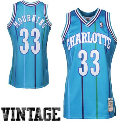 Mitchell & Ness Alonzo Mourning Charlotte Hornets Hardwood Classics Authentic Vintage Jersey - Teal