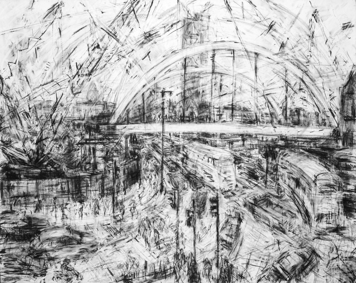 Jeanette Barnes. My work consists of drawing. Cities are my inspiration, their people and architecture. I love the energy, buildings, people rushing about, traffic speeding by. I make many sketches outside, then go back to my studio and begin to build up large pieces through trial and error, trying out various combinations. These drawings aren't about 1 single moment, but a combination of ideas and experiences, bringing together interesting aspects from different sketches to create final…