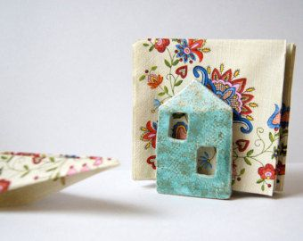 This sponge and napkin holder hand built from terracotta,decorated with engobes, fired, glazed and fired again.  om picture on the Etsy. Made from: terracotta, glazes.  Measurement: 7 cm tall by 12 cm wide 2,75 tall by 4,75 wide  Lead-free. Non-toxic.  Ready to ship in 2-3 weeks. All of my items come well packaged to prevent any damage.  Air delivery from Russia with tracking & insurance. Please allow 2-4 weeks for delivery.