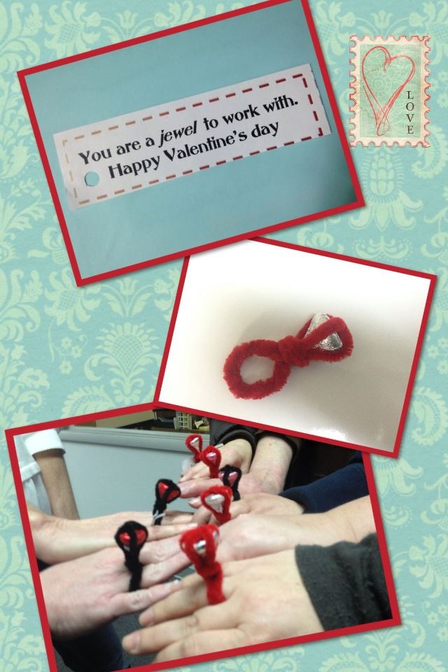 "A coworker made Hershey Kiss & pipe cleaner ""diamond rings"" for all the ladies in the office this Valentine's Day!  These turned out so cute! She is so crafty.  Great idea for Valentine gifts for coworkers. We love the MultiCare Home Health & Personal Care Services office culture!  www.multicareinc.com"