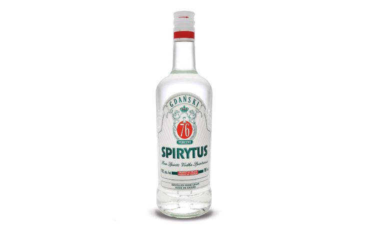 """Proof: 192 (96% alcohol). Made in: Poland Approved a fewyears ago to be sold in New York State, the Polish-made Spirytus vodka is the strongest liquor for sale in the U.S. """"It's like getting punched in the solar plexus,"""" one sampler told the New York Post. Or as one liquor retailer recited in a frightening endorsement, """"Pilots in Siberia used to drink it."""""""