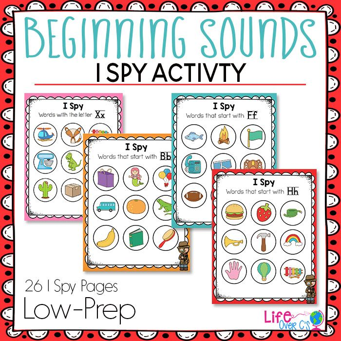 "Work on beginning sounds with these low-prep Beginning Sound I Spy printables! Use them in your literacy centers for a fun way to work on pre-reading skills. What other teachers are saying about the Beginning Sounds I Spy set: ""Life Over C's is one of my favorite resources. My kiddos love I spy pages. One way I use these is laminated and with playdough - they make playdough balls and cover up the right ones."" ""Colorful, fun and easy to use. Thanks!"""