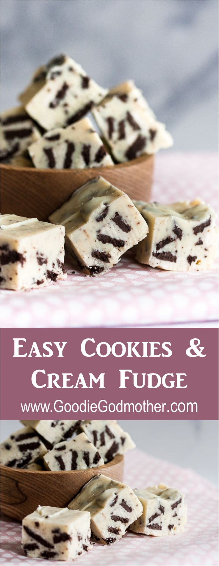With just 4 ingredients and a few minutes, you can whip up this crowd-pleasing easy cookies and cream fudge! This easy fudge recipe is perfect for parties or a sweet edible gift. * GoodieGodmother.com