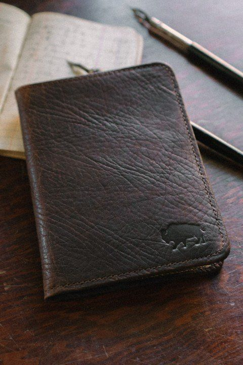 Bison Leather Field Notes Travel Wallet - Tumbled Mahogany