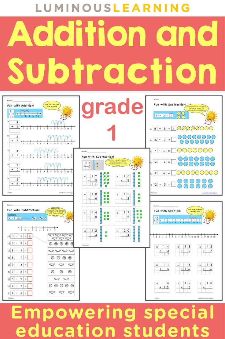 Luminous Learning Grade 1 Addition and Subtraction workbook empowers struggling learners by providing built-in supports such as visual aids, vivid examples, graph paper to align numbers, and clear instructions.