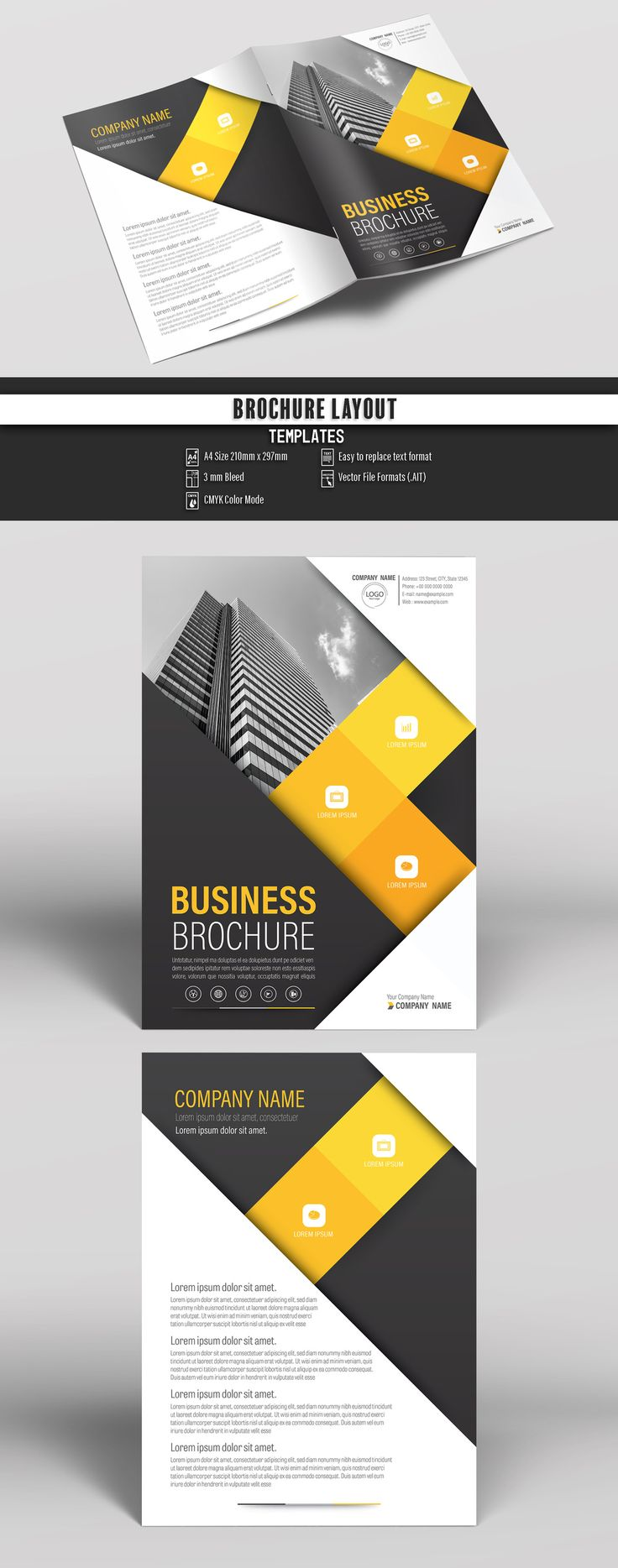 Brochure Cover Layout with Black and Yellow Accents 1. Buy this stock template and explore similar templates at Adobe Stock | Adobe Stock  #Brochure #Business #Proposal #Booklet #Flyer #Template #Design #Layout #Cover #Book #Booklet #A4 #Annual #Report| Brochure template | Brochure design template | Flyers | Template | Brochures | Flyer Background | Background design | Business Proposal | Proposal Design | Booklet | Professional | Professional - Proposal - Brochure - Template