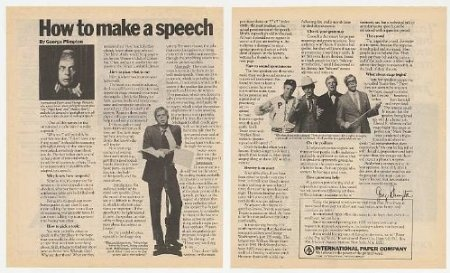 George Plimpton How to Make a Speech 2-Page Print Ad 1981