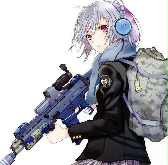 anime girl gun white hair manga