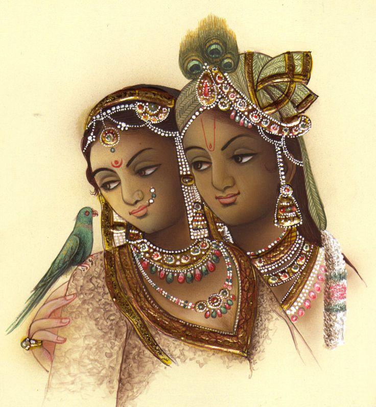 Radha Krishna Painting Handmade Hindu Religious God Goddess Watercolor Folk Art