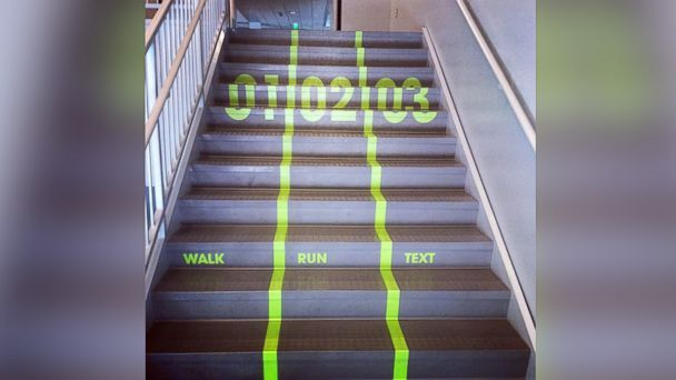 University in Utah Installs 'Texting Lane' on Stairs - ABC News