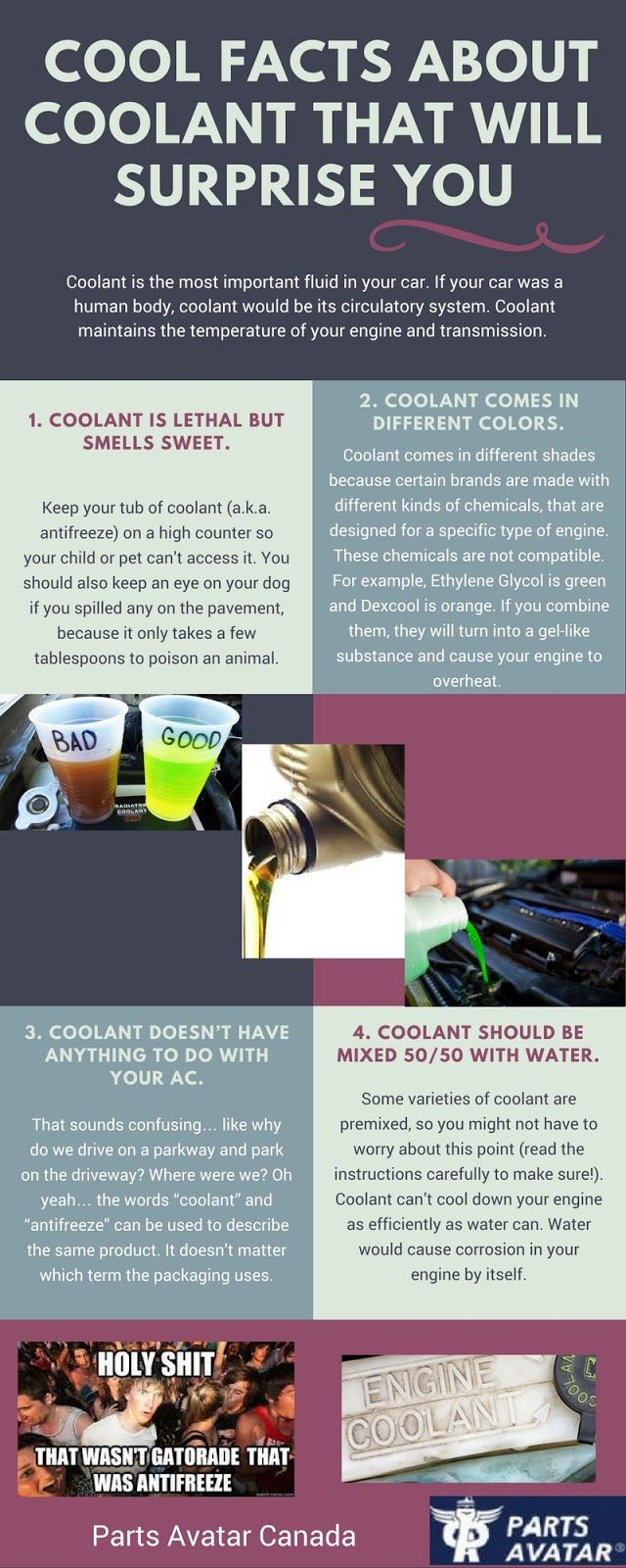 Well, we all use antifreezes and coolants in our cars. but do you know some interesting facts about coolants?? Check out this compelling infographic about coolant and upgrade your knowledge!!  Do you use high quality of anti freezes in your car? No? Then its never too late. Visit Parts Avatar Canada- the best aftermarket auto body parts store online.  Are you looking for the best performance auto parts to upgrade your ride? Or are you searching f