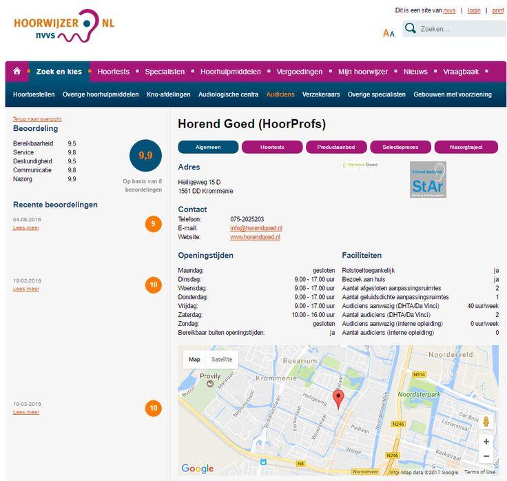 LEUK! Ook op Hoorwijzer.nl is Horend Goed terug te vinden :-) Wij scoren zelfs een 9,9 op de enige échte onafhankelijke website voor en gemaakt door slechthorenden. Nieuwsgierig of wil je zelf een recensie achterlaten? Klik hier: https://www.hoorwijzer.nl/zoek-en-kies/audiciens/audiciens-profiel.html?id=92542