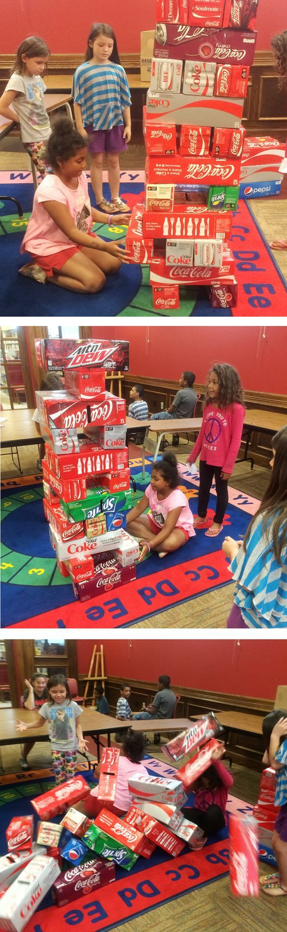 Why spend the money on a giant Jenga set, when you can reuse, reduce, and recycle one from old soda cartons?! The Library often hosts giant games programs using found or reclaimed items! Check out our program calendar for upcoming events and fun things for kids to do!: