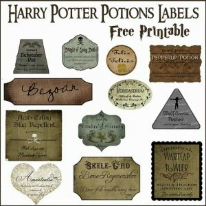 Harry Potter Potions Labels                                                                                                                                                                                 More