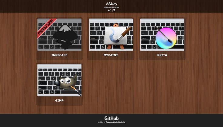 ASKey - Keyboard Shortcuts   http://andeon.github.io/askey/  #GIMP #Krita #Mypaint #Inkscape