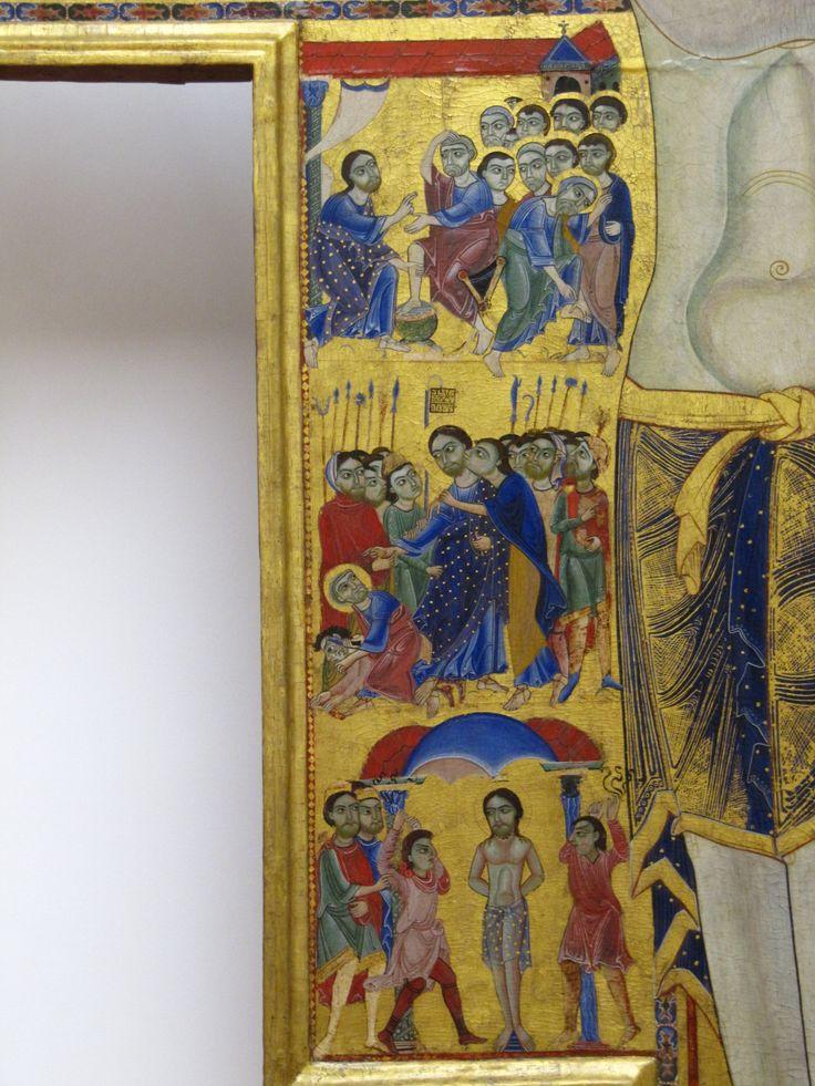 Maestro della Croce 432 (Maestro pisano) - Crocifisso con storie della Passione e della Redenzione, dettaglio - 1180-1200 - croce sagomata dipinta a tempera e oro su tavola - Galleria degli Uffizi, Firenze