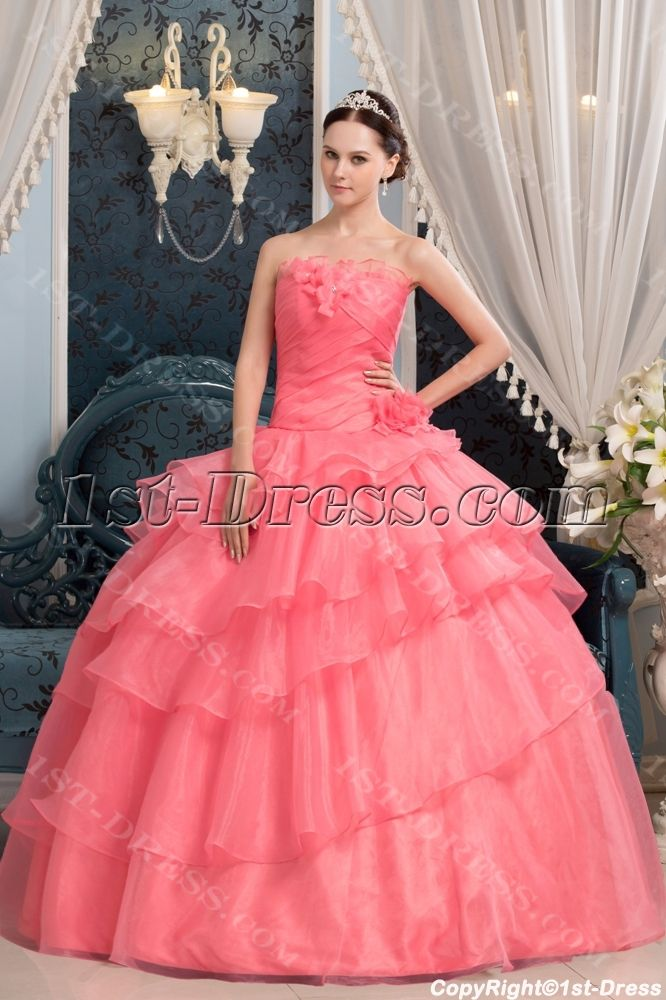 Long Coral Pretty Quinceanera Dress with Floral $179.00