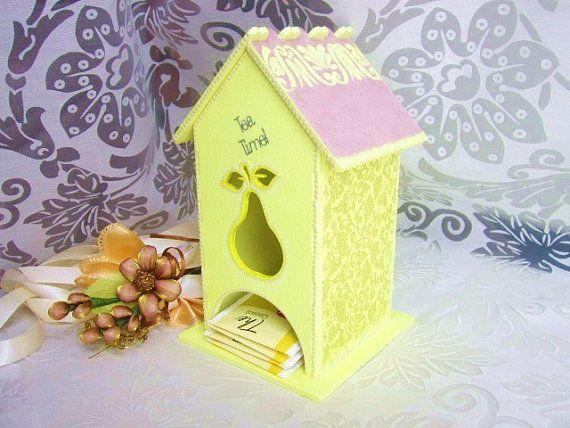 Original wooden tea bag box house holder wooden tea by GattyGatty, $32.00