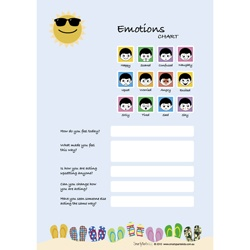Wipeable Emotions Charts available in loads of different designs and colours.