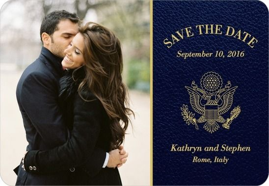 Passionate Passport Save the Date Magnets in Navy – Destination Wedding Save the Date Magnets