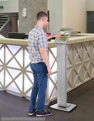 The iPad pro floor stand s a secure way to have an interactive display at your business. Using an iPad lets customers access menus, product information, navigate a shopping center, and sign up for events in different locations.