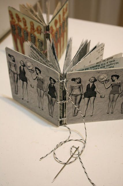Hand-bound Recycled Mini-Coaster Books by Denise Hahn