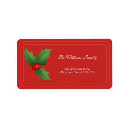 Simple Red Merry Christmas Address Label - Xmas ChristmasEve Christmas Eve Christmas merry xmas family kids gifts holidays Santa