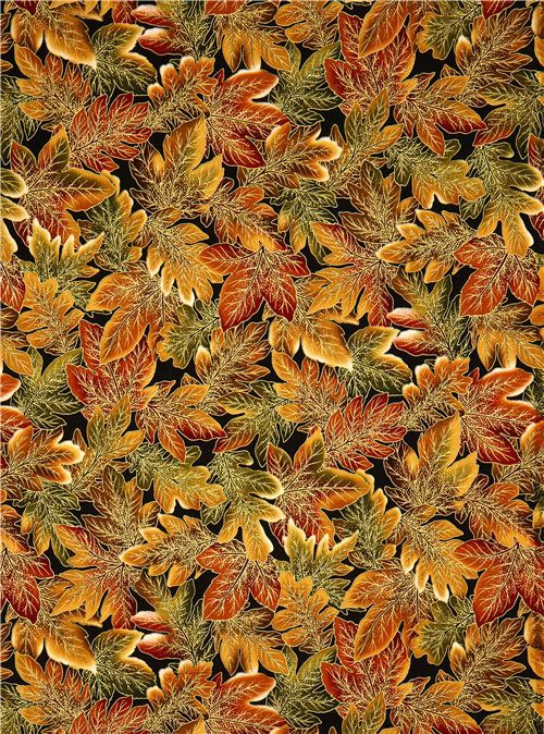 Robert Kaufman autumn fabric with golden leaves 2