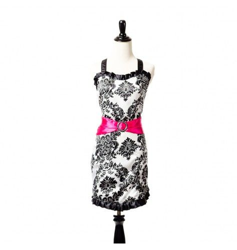 Simply Savvy Belle Damask Stylist Apron with Pink Sash I LOOOOOOVEEE IT!!!!!!!!!!
