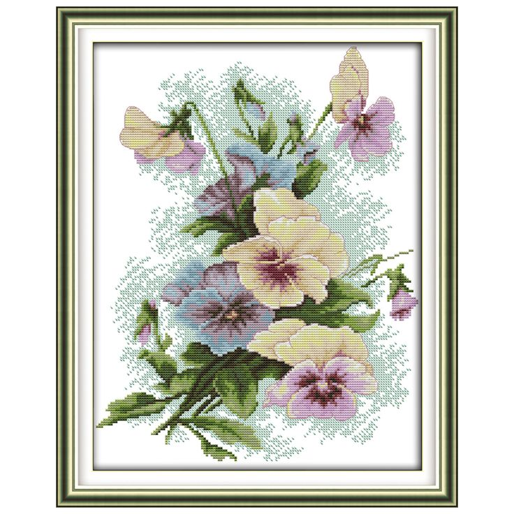 Cheap embroidery cross, Buy Quality embroidery machine single head directly from China embroidery world Suppliers:   Pansy (2) Flower Patterns Counted Cross Stitch 11CT 14CT Cross Stitch Sets Chinese Cross-stitch Kits Embroidery Needle
