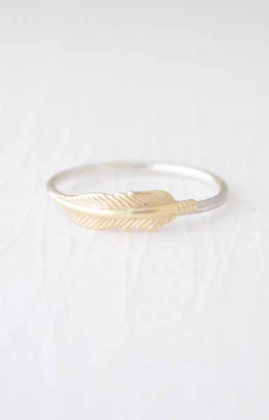 Little Feather Ring gold feather ring